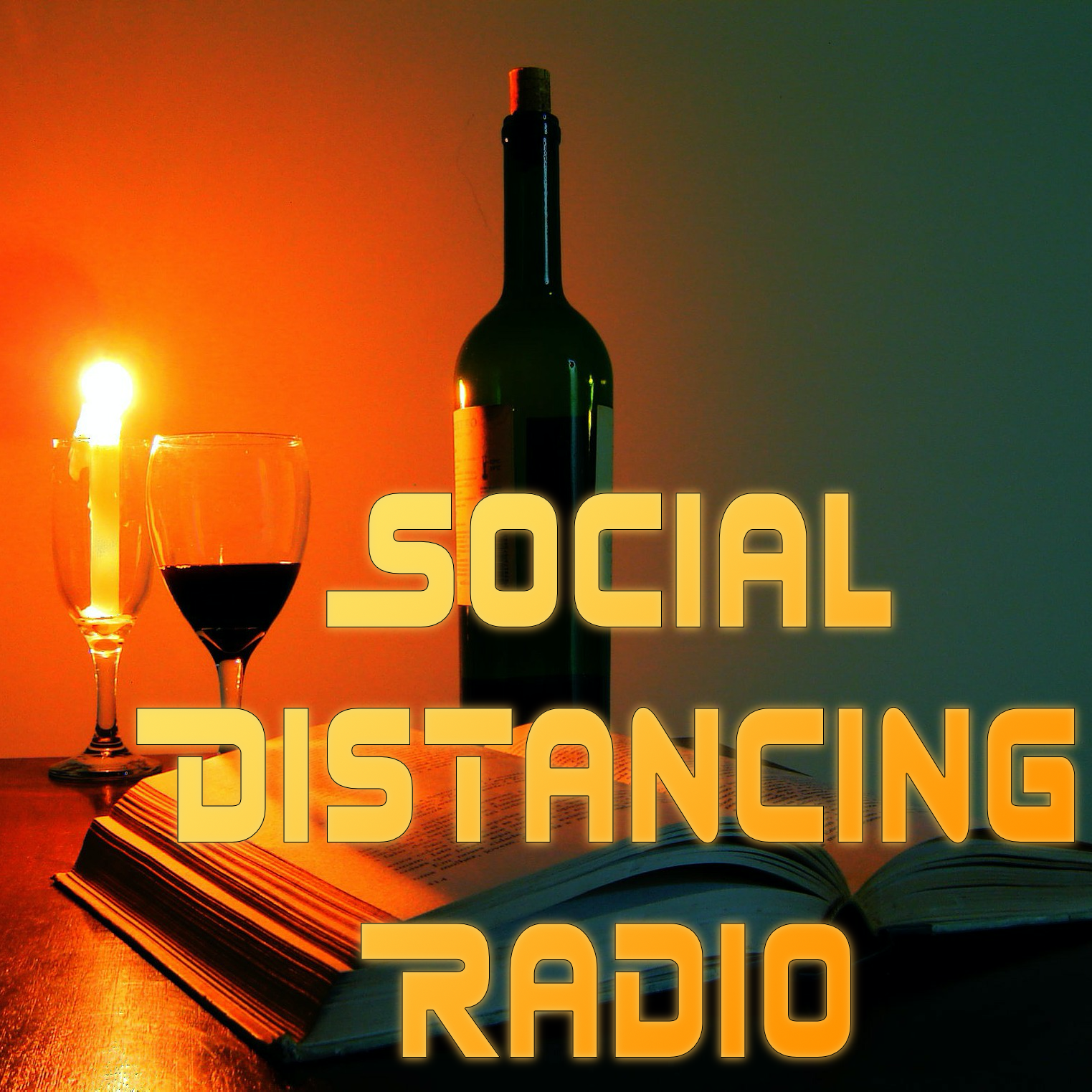 The logo of Social Distancing Radio: a book, a candle, and a glass and bottle of wine.