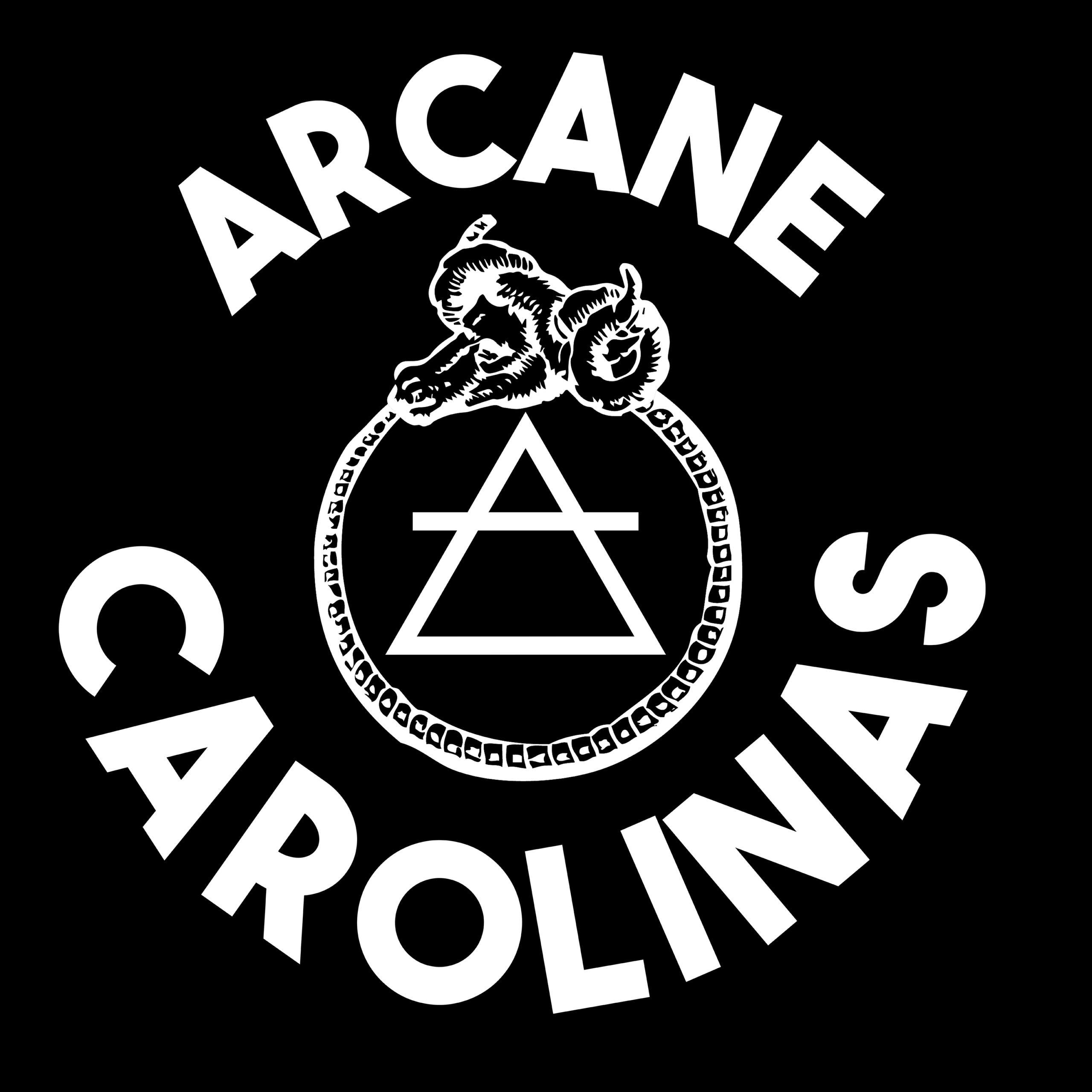 Arcane Carolinas logo: a ram-headed ouroborous around the astrological symbol for Air, with the words ARCANE CAROLINAS.